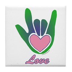 Green/Pink Love Hand Tile Coaster