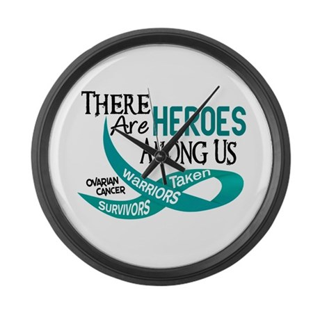 Heroes Among Us OVARIAN CANCER Large Wall Clock