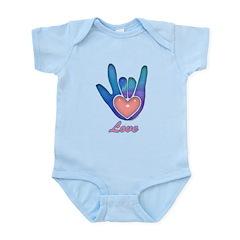 Blue Glass Love Hand Infant Bodysuit