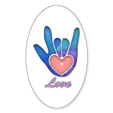 Blue Glass Love Hand Oval Decal