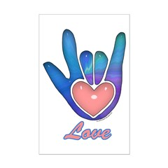 Blue Glass Love Hand Posters