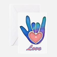 Blue Glass Love Hand Greeting Card