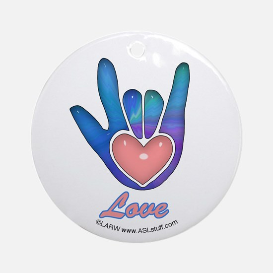 Blue Glass Love Hand Ornament (Round)