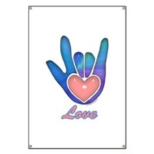 Blue Glass Love Hand Banner