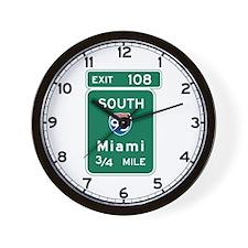 Miami, FL Highway Sign Wall Clock