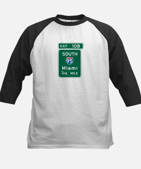 Miami, FL Highway Sign Kids Baseball Jersey