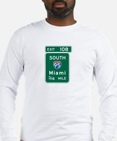 Miami, FL Highway Sign Long Sleeve T-Shirt
