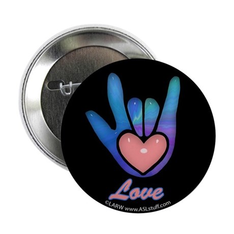"Blue Glass Love Hand Black 2.25"" Button"