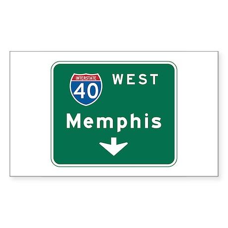 Memphis, TN Highway Sign Rectangle Sticker