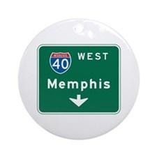 Memphis, TN Highway Sign Ornament (Round)