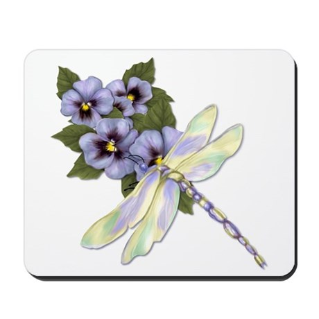 Dragonfly and Pansy Floral Mousepad