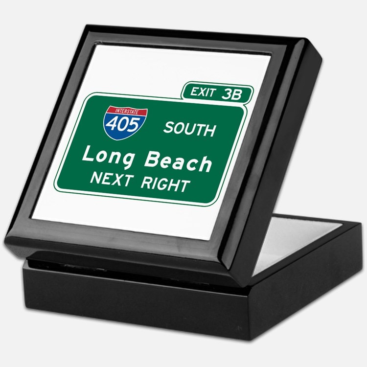 Long Beach, CA Highway Sign Keepsake Box