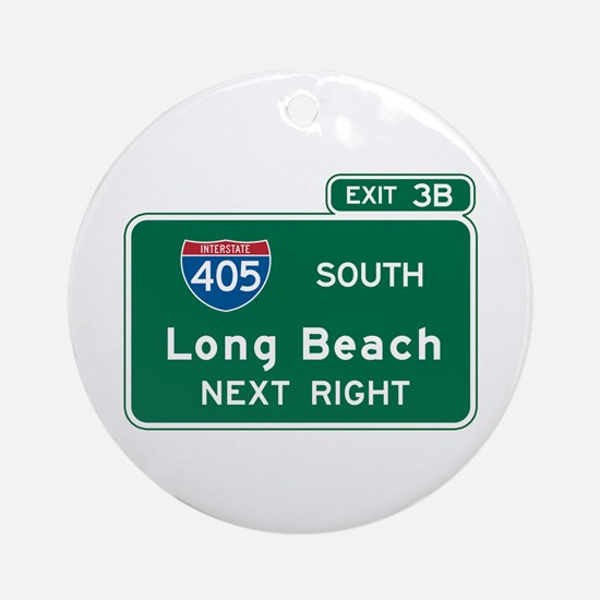 Long Beach, CA Highway Sign Ornament (Round)