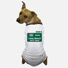 Long Beach, CA Highway Sign Dog T-Shirt