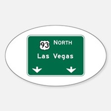Las Vegas, NV Highway Sign Oval Decal