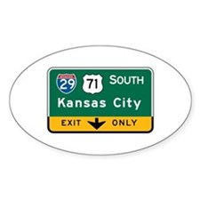 Kansas City, MO Highway Sign Oval Decal