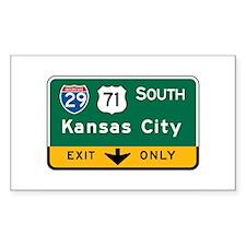 Kansas City, MO Highway Sign Rectangle Decal