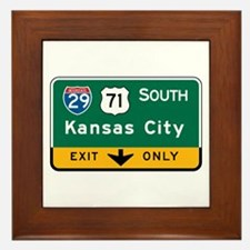 Kansas City, MO Highway Sign Framed Tile