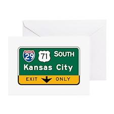 Kansas City, MO Highway Sign Greeting Cards (Pk of