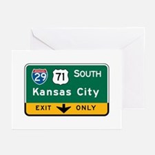 Kansas City, MO Highway Sign Greeting Cards (Pk of