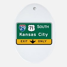 Kansas City, MO Highway Sign Oval Ornament