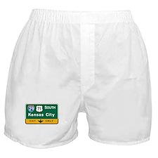 Kansas City, MO Highway Sign Boxer Shorts