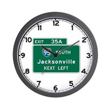 Jacksonville, FL Highway Sign Wall Clock