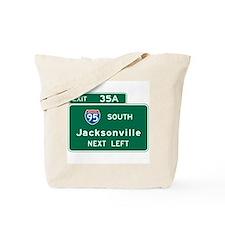 Jacksonville, FL Highway Sign Tote Bag