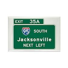 Jacksonville, FL Highway Sign Rectangle Magnet