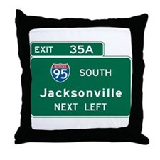 Jacksonville, FL Highway Sign Throw Pillow