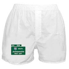 Jacksonville, FL Highway Sign Boxer Shorts