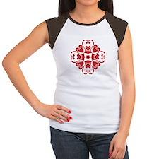 Hearts Hawaiian Quilt Women's Cap Sleeve T-Shirt
