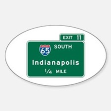 Indianapolis, IN Highway Sign Oval Decal