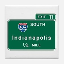 Indianapolis, IN Highway Sign Tile Coaster