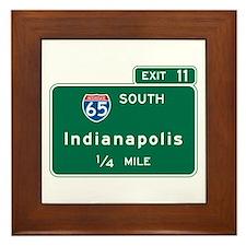 Indianapolis, IN Highway Sign Framed Tile