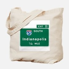 Indianapolis, IN Highway Sign Tote Bag