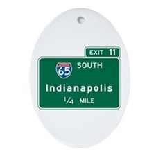 Indianapolis, IN Highway Sign Oval Ornament