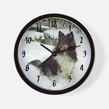 Winter Falls Sheltie Wall Clock