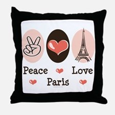 Peace Love Paris Throw Pillow
