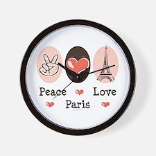Peace Love Paris Wall Clock