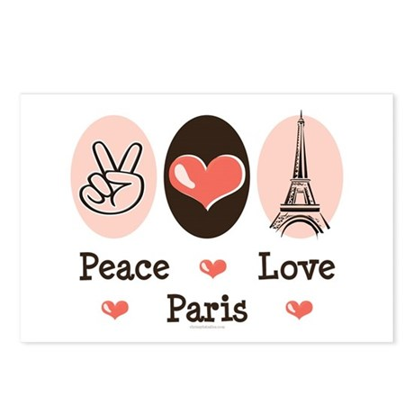 Peace Love Paris Postcards (Package of 8)