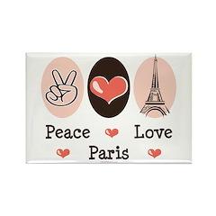 Peace Love Paris Rectangle Magnet