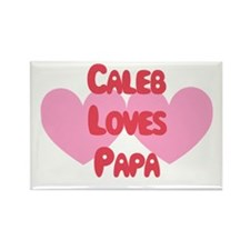 Caleb Loves Papa Rectangle Magnet
