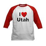 I Love Utah (Front) Kids Baseball Jersey