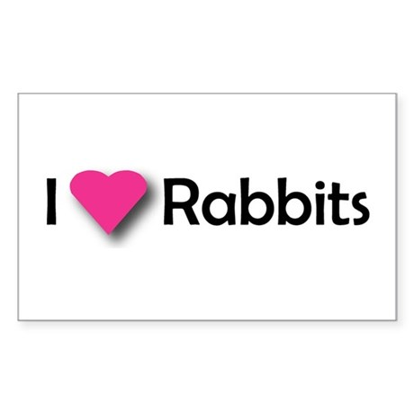 I LUV RABBITS! Rectangle Sticker
