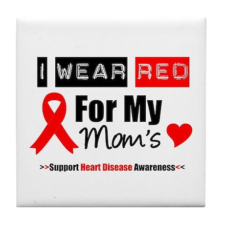 I Wear Red Mom Tile Coaster
