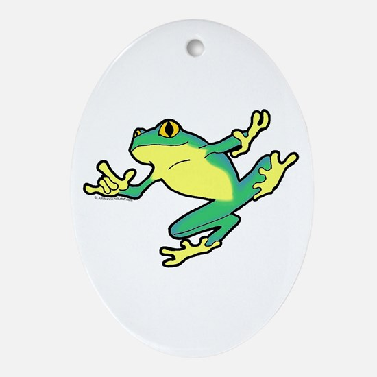 ASL Frog in Flight Oval Ornament