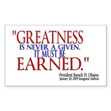Greatness is Never a Given Rectangle Decal