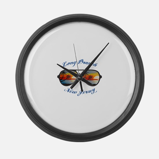 New Jersey - Long Branch Large Wall Clock