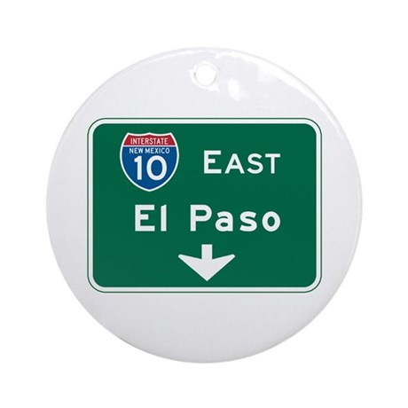 El Paso, TX Highway Sign Ornament (Round)